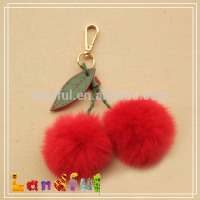 New Wholesale Red Cherry Fur Pompoms Keychain Charm Key Chain for Car Key Ring or Bag Faux Fur Pom-pom Ball
