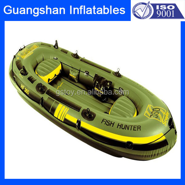 PVC inflatable 2 person fishing kayak with oars