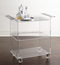 Alibaba supplier wholesale acrylic lucite juice bar cart with wheels