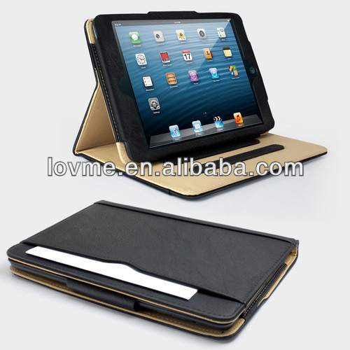 For Apple iPad Mini 2 Retina Black & Tan leather Wallet Case