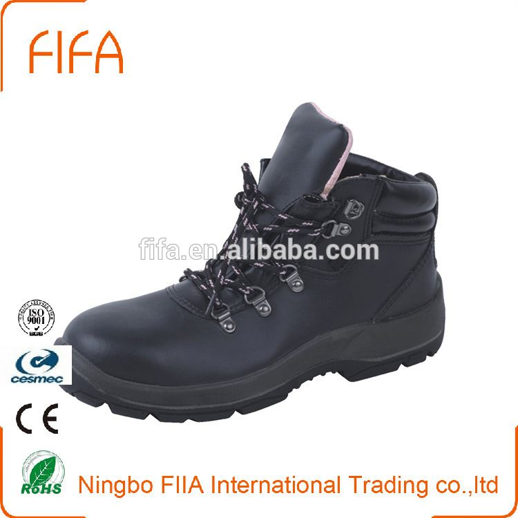 Feet protect buffalo leather working shoe PU injection safety industrial shoes