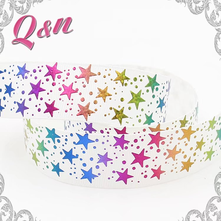 wholesale 75mm glitter star ribbon with custom silver foil printed scale
