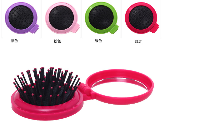 Hair Fold Massage Comb Portable Makeup Mirror AirBag Round Reduce Pull Massage Pin For Head Cute Clear Mirror Girls Essential