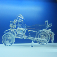 Wholesale clear 3d crystal glass material motorcycle model for souvenir gift
