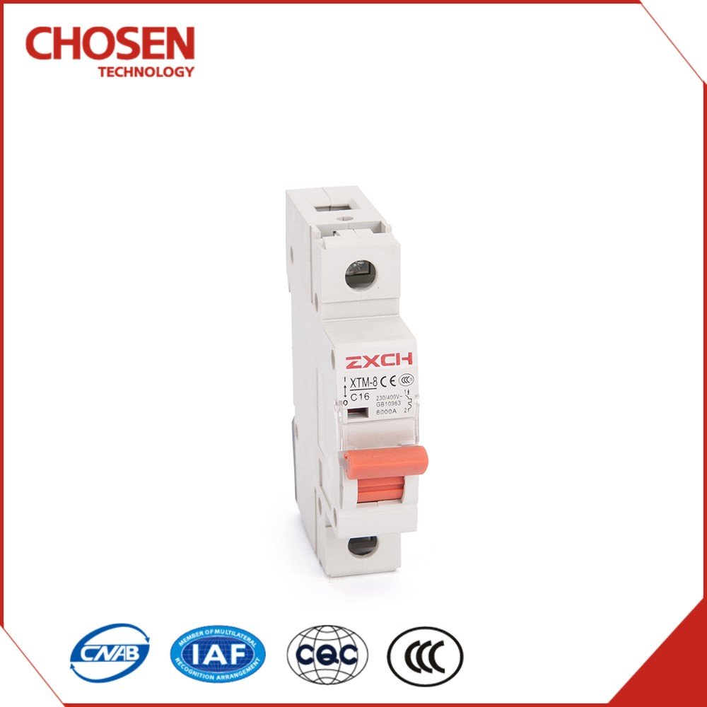 Miniature 10a circuit breaker,1p MCB DZ47type 1 pole 16amp 240v 6000a breaking capacity