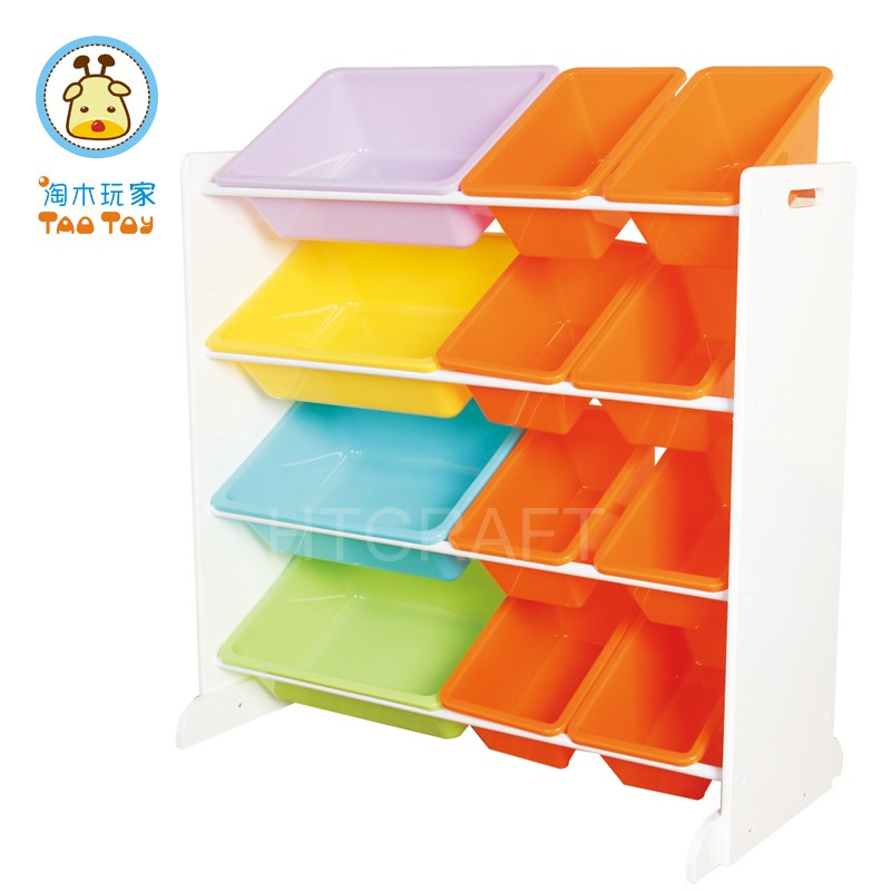 83x42x(H)80cm White Wooden Toy Organizer With 12 Plastic Bins Various In Two Sizes, Wholesale Toy Storage Organizer
