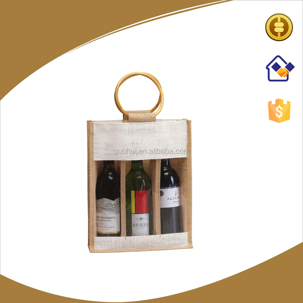 Can be customized jute wine tote bag,3 bottles jute wine bag with transparent PVC window