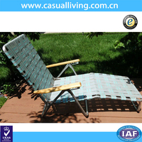 Vintage Aluminum Folding Webbed Chaise Lounger Lawn Chair Patio Deck Beach Pool