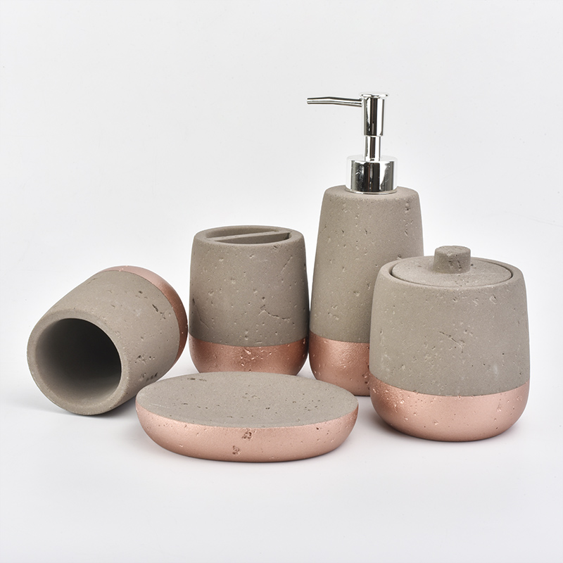 Modern style Cement Concrete Polyresin Resin Bathroom Bath accessories