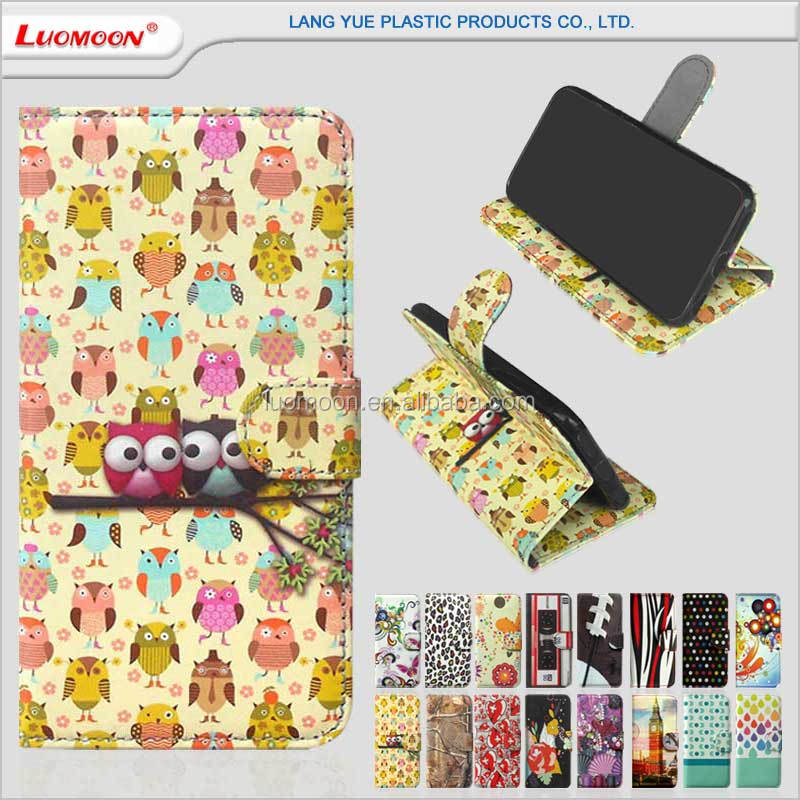 Custom cute print wallet standing flip leather mobile phone ODM OEM case cover pouch for Apple iphone 6 6s plus + se