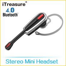 iTreasure Bluetooth V3.0 and EDR Wireless Bluetooth Hands Free Earphone Music Headset with Mic for Smartphone Tablet PC