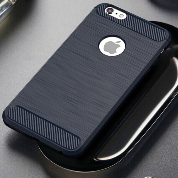 Carbon Fiber Brush Phone Case TPU Bumper Cover Case For iphone 6