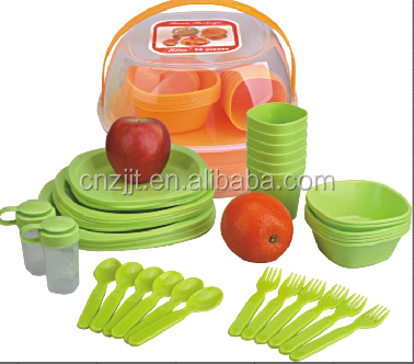 48 Pieces Plastic Picnic Camping BBQ Party Dinner Plate Bowl Tumbler Cutlery Set