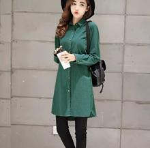 zm33036a new pattern 2017 women long sleeve blouse long style cotton tops ladies