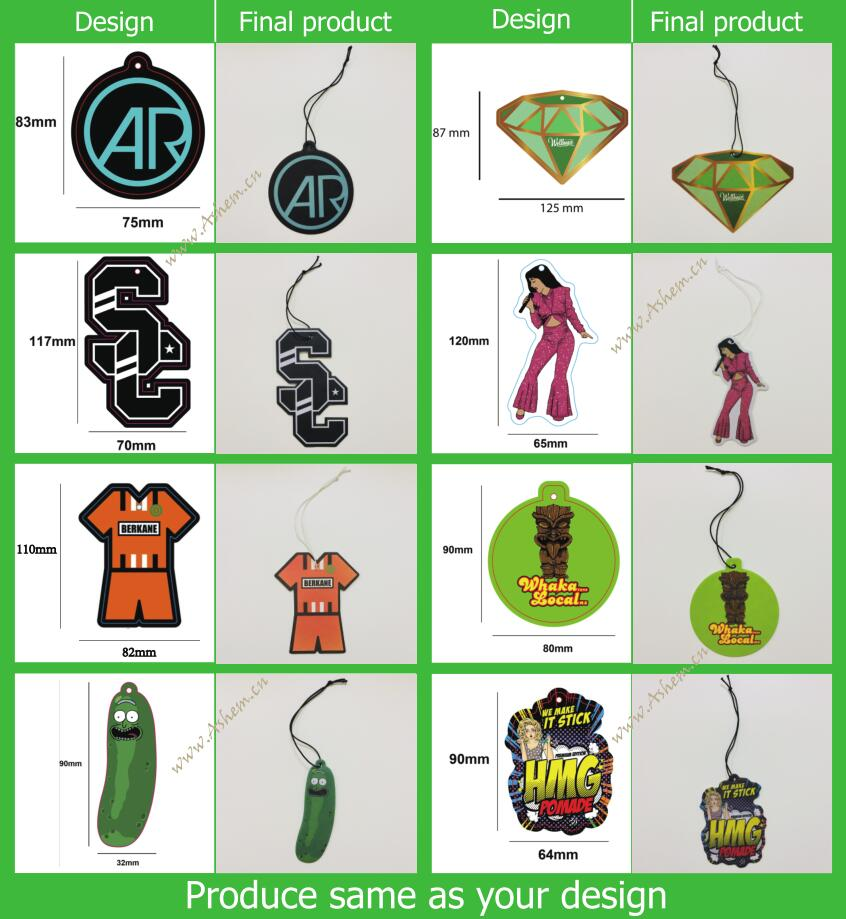 New arrival hot sale customized air freshener printing ,M-841