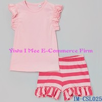 Yiwu Boutique Kids Summer Outfits Trendy Western Girls Pink Stripe Ruffle Cotton Shorties Clothing Sets IM-CSL025