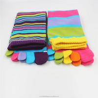 Ladies Cotton Tops Designs Custom Brand Crew Five Toes Socks