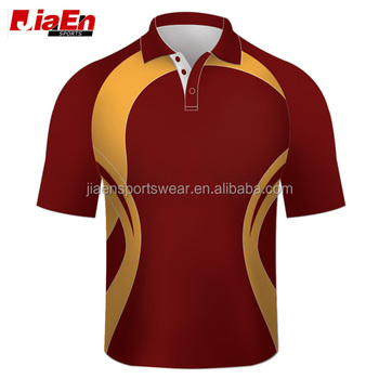 cheap wholesale newest design cricket polo shirts pattern red india cricket team jersey