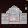 2017 Customized Glitter Folding Luxury Wedding Invitation Card