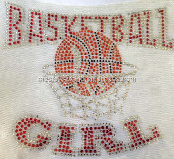Hot Fix Motif In Rhinestones And Rhinestuds Iron on basketball Mom