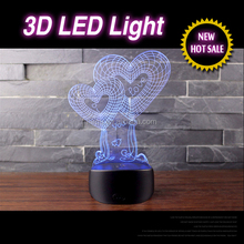 Best home 3d platform decorative led light and romantic gift heart new year design baby lamp projector