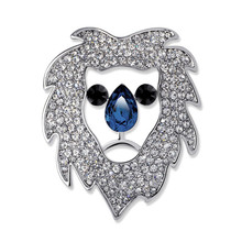 High Quality Real White Gold Plated Pave Full White Rhinestone Hollow Lion Head Shape Blue Crystal Brooch For Men