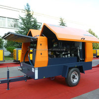 Trailer mounted portable diesel air screw compressor