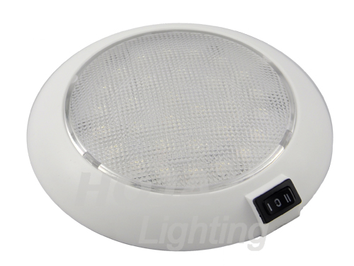 5-1/2 inch Dome Light White Plastic, Low Profile led dome light use in boat and rv