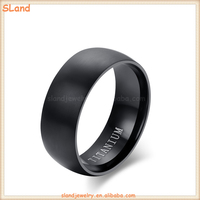 Wholesale 2017 Minimalist classic IP black plated Pure Titanium Stainless Steel Brushed Band Ring Jewelry for Men