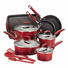 Press aluminum nonstick coating 14-Piece cookware set, casserole set, fry pan set, red