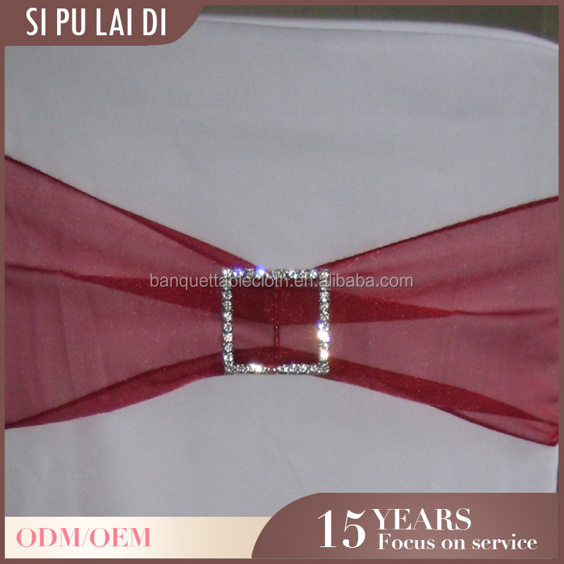 fancy Custom restaurant chiffon organza burgandy party chair sash
