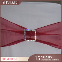 fancy Custom restaurant organza burgandy chair sash for wedding