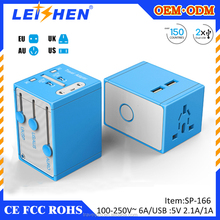 2015 colorful-printed dual usb travel adapter can be used in over 150 countries