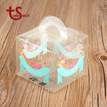 Custom daily necessities plastic clear package cake box with handle