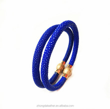 Fashion Unisex Genuine Stingray leather Ladies Stainless steel Magnetic Clasp bracelet wholesale