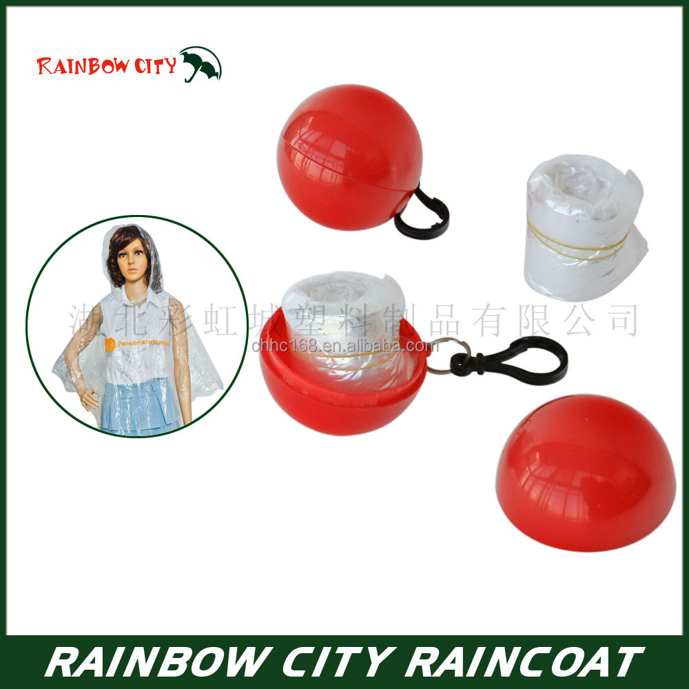 newest design high quality disposable raincoat/ rain poncho in ball
