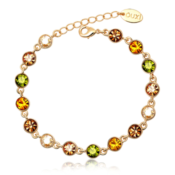 OUXI 18K Rhodium Plated Chain With Lobster Clasp Colorful Austria Crystal Bracelet With Small Charm Women Chain Bracelets