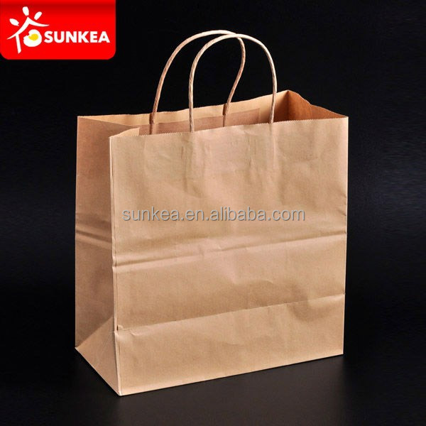 Flat bottom kraft paper grocery bag with handle