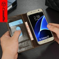 Retro Luxurious PU Leather Smart mobile Cover for samsung wallet,Tablet Leather Case for Galaxy S7