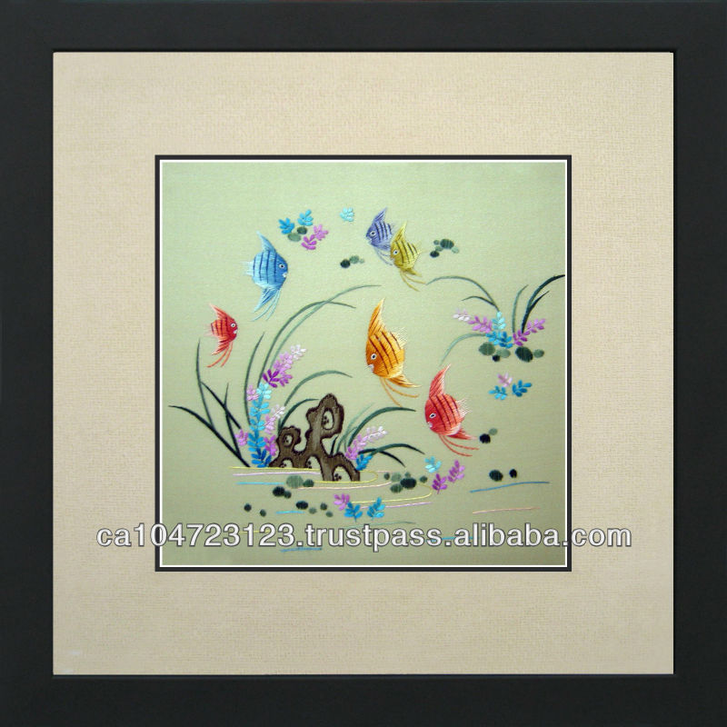 32007-Colorful Fish Flying Over a Pond-- Susho, King Silk Art 100% Handmade Silk Embroidery