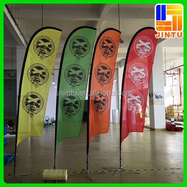 Customized Beach Banner Flag, Outdoor Flying Beach Banners, Teardrop/Feather Shape