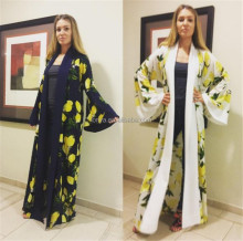 New Yellow Flower Printing Loose Plus Size Moroccan , Dubai, Indian ,Pakistan Women Kaftan Caftan , Kaftan Dress
