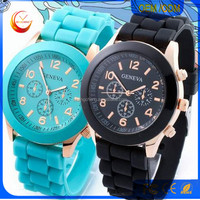 Ladies quartz select fashion custom made cheap colorful geneva silicone rubber watch