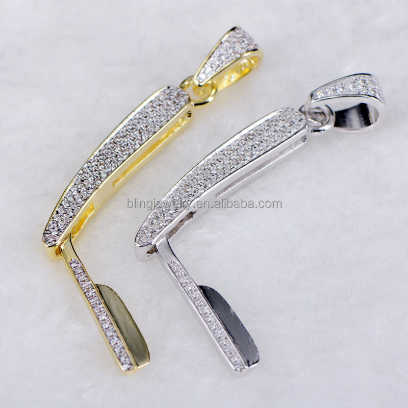 2017 customize CZ razor pendant with micro paved blingbling CZ