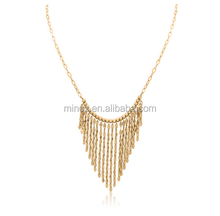 New Dssigners Women Gold Beaded Bib Necklace Gold Stainless Steel Pendant Necklace