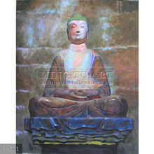 Handmade Modern abstract thai buddha painting,oils on canvas, Holy Buddism Canvas Wall Art(9)