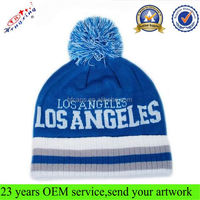 Blue Beanie Hat Fashion Acrylic Knitted Custom Winter Hats With Pom Poms