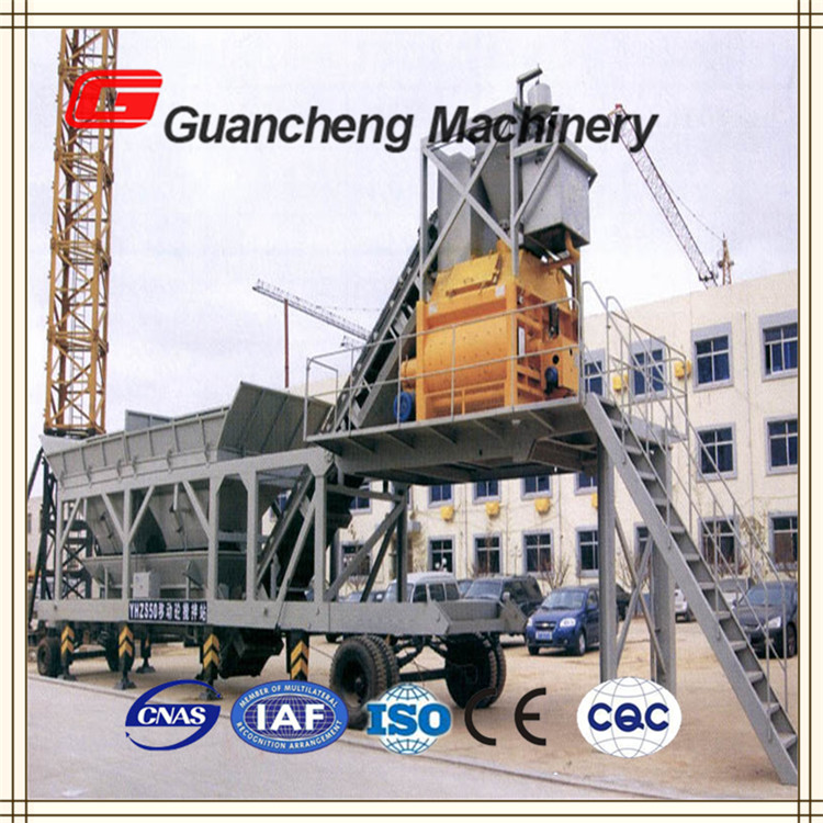 Automatic control YHZS75 Mobile Concrete mixing plant with cement silo