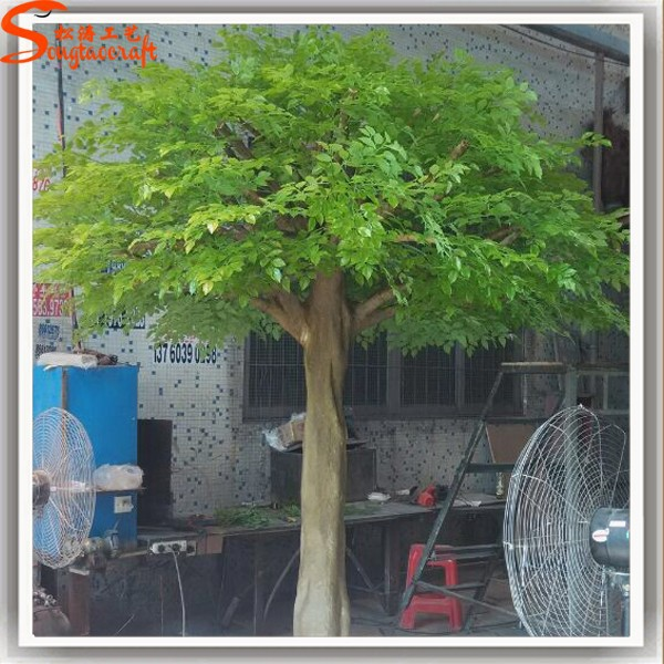 New design to Dubai artificial tree trunk fresh green leaves ficus tree plastic shrubs artificial landscape plants