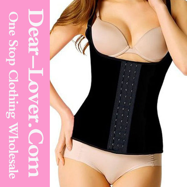 Black Steel Boned Corset Latex Waist Trainer Vest Made in Colombia